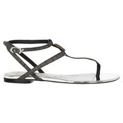 Dolce & Gabbana Woman Sandals Grey Fabric IT 36
