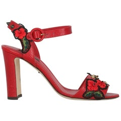 Dolce & Gabbana Woman Sandals Red Leather IT 39