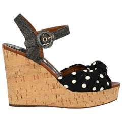 Dolce & Gabbana Woman Wedges Black Fabric IT 37.5