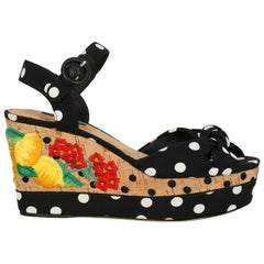 Dolce & Gabbana Woman Wedges Black, Multicolor, White IT 38