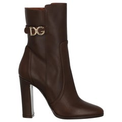 Dolce & Gabbana  Women Ankle boots  Brown Leather EU 37.5