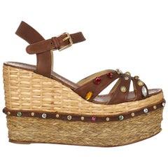 Dolce & Gabbana  Women   Sandals  Brown Leather EU 37