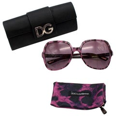 Dolce & Gabbana Women's Purple Leopard Print Oversized Sunglasses