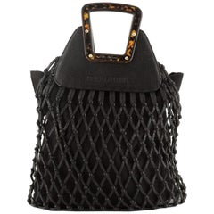Dolce & Gabbana Woven Frame Tote Leather with Tortoise Wood