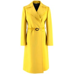 Dolce & Gabbana Yellow Belted Virgin Wool & Cashmere Coat - Size US 4