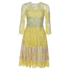 Dolce & Gabbana Yellow Lace Midi Dress M