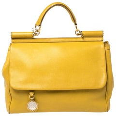Dolce & Gabbana Yellow Leather Large Miss Sicily Top Handle Bag
