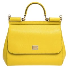 Dolce & Gabbana Yellow Leather Medium Miss Sicily Bag