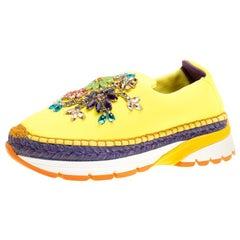 Dolce & Gabbana Yellow Neoprene Barcelona Embellished Slip On Sneakers Size 37