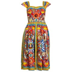 DOLCE & GABBANA yellow & red cotton CARETTO PRINT BUSTIER Dress 38