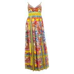 DOLCE & GABBANA yellow & red silk chiffon CARRETTO PRINT Maxi Dress 38