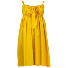 DOLCE & GABBANA yellow silk GATHERED SLEEVELESS EMPIRE Dress 40