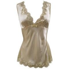 Dolce & Gabbana yellow silk lace top