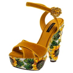 Dolce & Gabbana Yellow Sunflower Print Velvet Platform Sandals Size 36