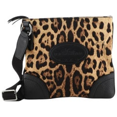 Dolce & Gabbana Zip Messenger Bag Leopard Print Nylon Medium