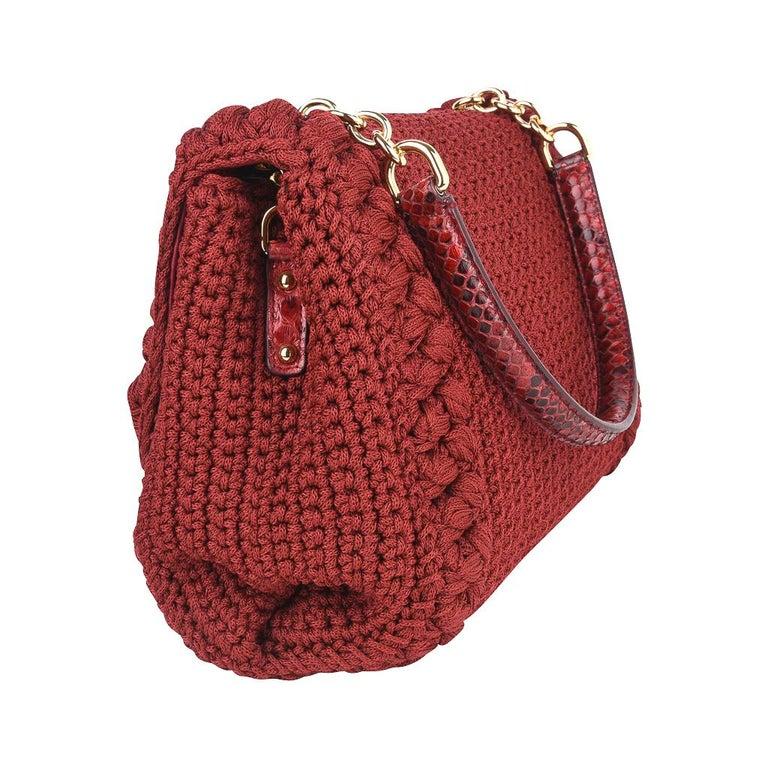 Dolce&Gabbana Bag Jewel Toned Lush Crochet Snakeskin Handle For Sale 5