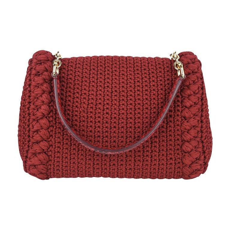 Dolce&Gabbana Bag Jewel Toned Lush Crochet Snakeskin Handle For Sale 6