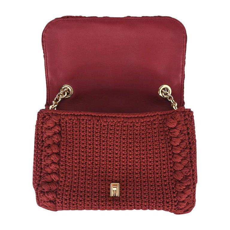 Dolce&Gabbana Bag Jewel Toned Lush Crochet Snakeskin Handle For Sale 7