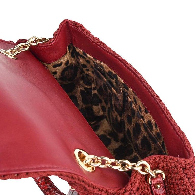 Dolce&Gabbana Bag Jewel Toned Lush Crochet Snakeskin Handle For Sale 8