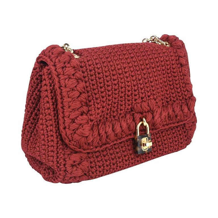 Red Dolce&Gabbana Bag Jewel Toned Lush Crochet Snakeskin Handle For Sale