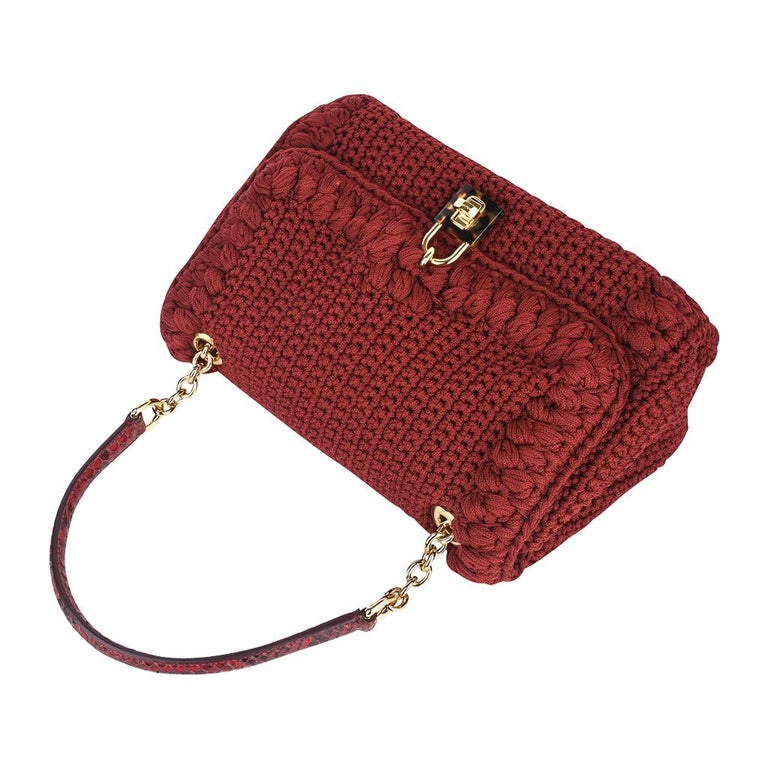 Dolce&Gabbana Bag Jewel Toned Lush Crochet Snakeskin Handle In Excellent Condition For Sale In Miami, FL