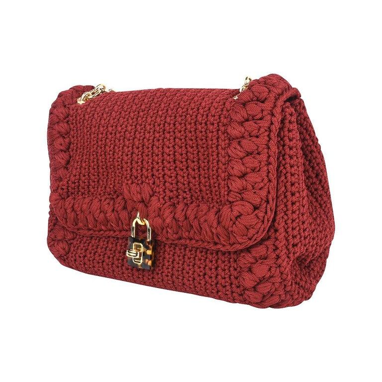 Women's Dolce&Gabbana Bag Jewel Toned Lush Crochet Snakeskin Handle For Sale