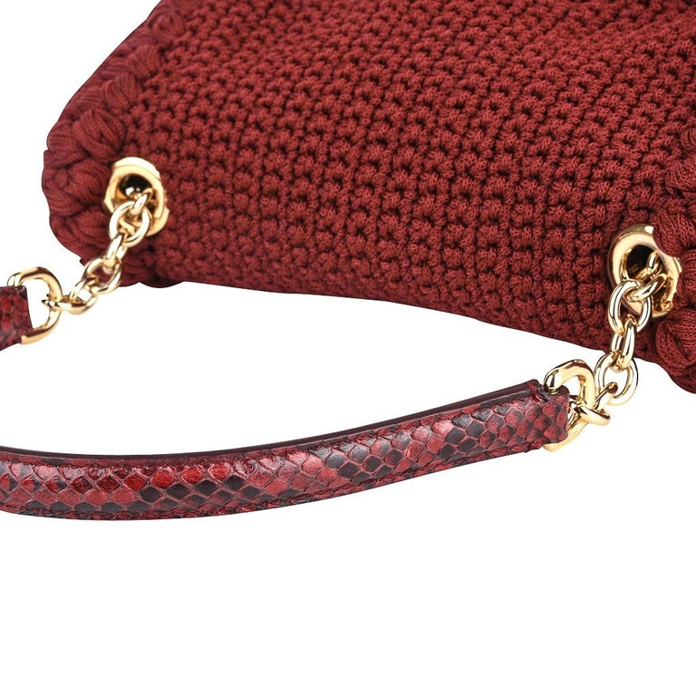 Dolce&Gabbana Bag Jewel Toned Lush Crochet Snakeskin Handle For Sale 1