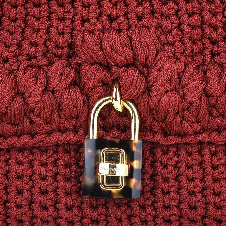 Dolce&Gabbana Bag Jewel Toned Lush Crochet Snakeskin Handle For Sale 4