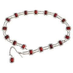 Dolce&Gabbana Belt Ruby and Swarovski Stones Adjustable Size
