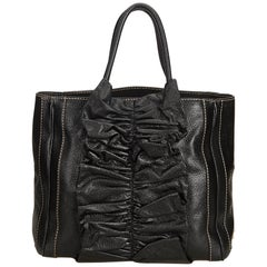 Dolce&Gabbana Black Gathered Leather Tote Bag