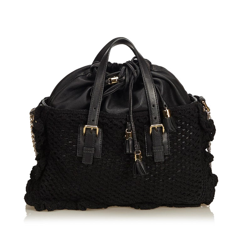 Dolce&Gabbana Black Miss Helen Crochet Tote In Good Condition For Sale In Orlando, FL