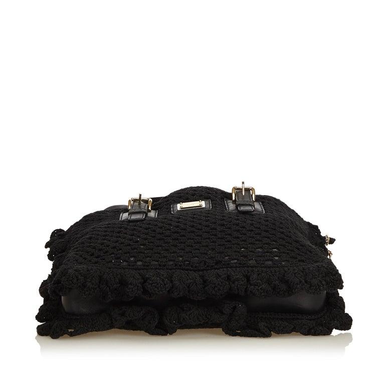 Women's Dolce&Gabbana Black Miss Helen Crochet Tote For Sale