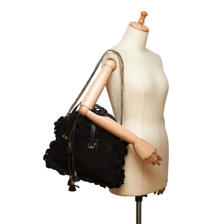 Dolce&Gabbana Black Miss Helen Crochet Tote For Sale 4
