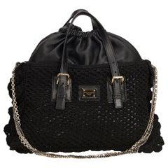Dolce&Gabbana Black Miss Helen Crochet Tote