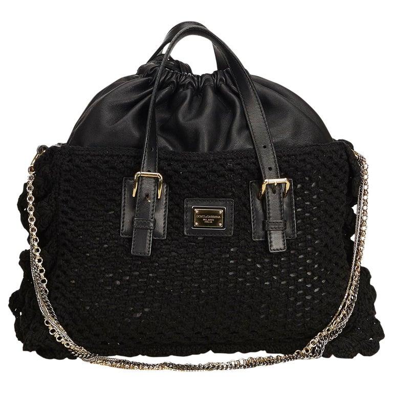 Dolce&Gabbana Black Miss Helen Crochet Tote For Sale