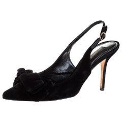 Dolce&Gabbana Black Velvet Bellucci Bow Pointed Toe Slingback Sandals Size 39