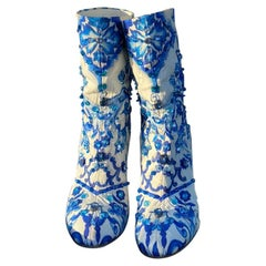 Dolce&Gabbana Blue Majolica Crystal boots booties