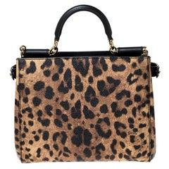 Dolce&Gabbana Brown/Black Leopard Print Leather Medium Miss Sicily Shopper Tote
