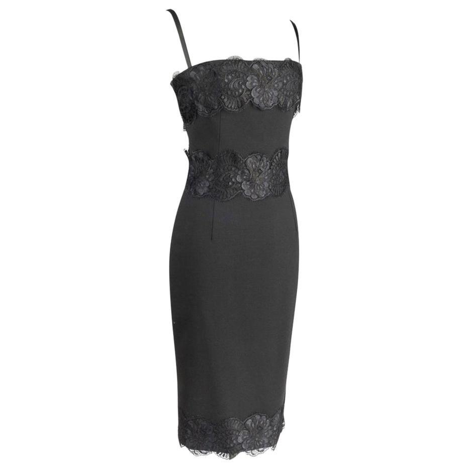 Dolce&Gabbana Cocktail / Dinner Sheath Dress Black w/ Lace Built in Bra 40 / 6