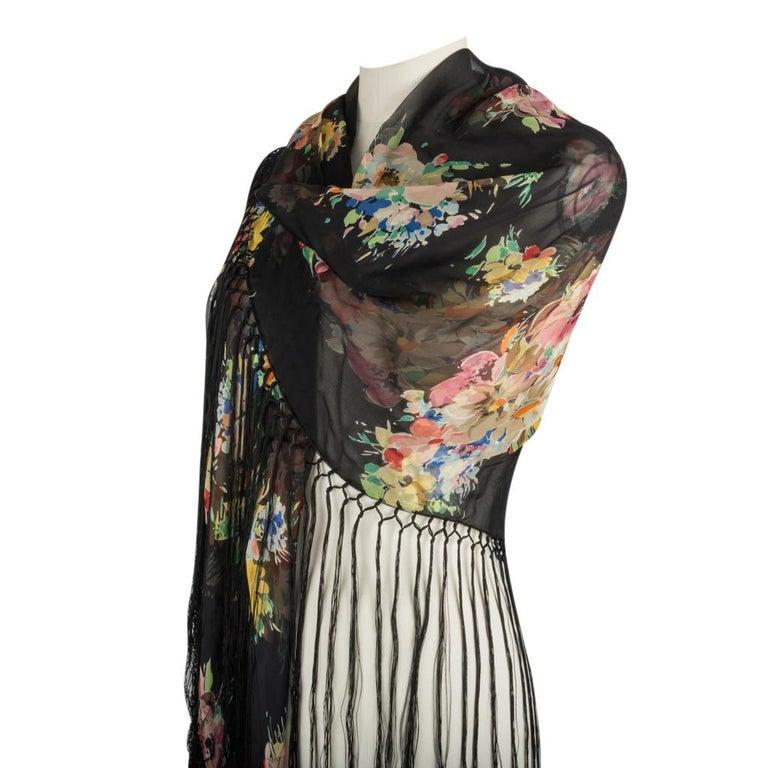 Dolce&Gabbana Dress Floral Print w/ Shawl 44 / 8 New For Sale 2
