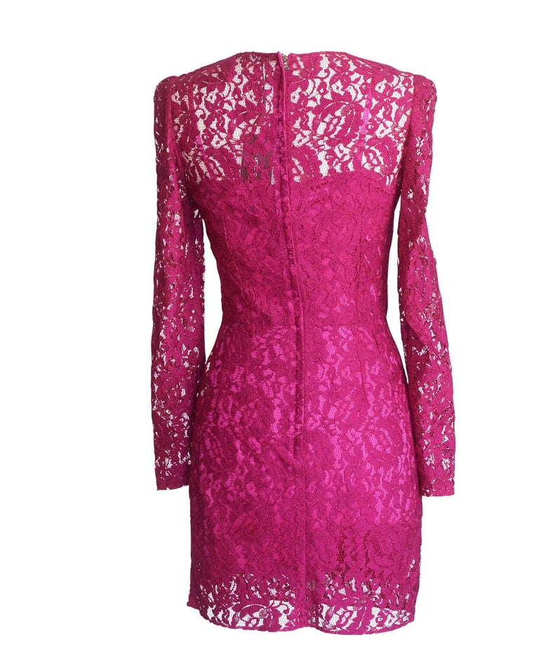 Red Dolce&Gabbana Dress Hot Magenta Pink Lace  42 / 6  nwt For Sale