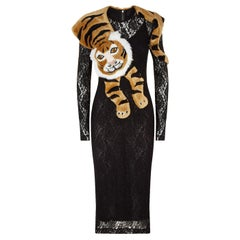 DOLCE&GABBANA  Faux Fur Tiger Lace Dress  42IT  New With Tags
