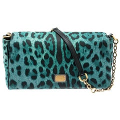 Dolce&Gabbana Green/Black Leopard Print Canvas and Leather Flap Shoulder Bag