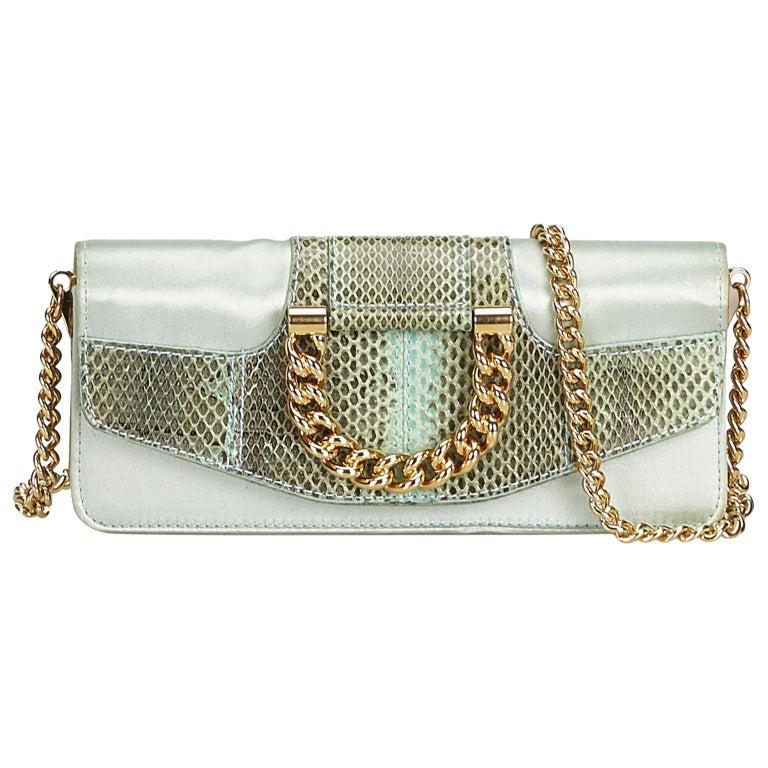 57150a1c8159 Dolce Gabbana Green Satin Python Chain Crossbody Bag For Sale at 1stdibs