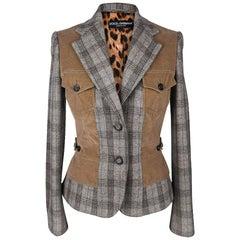 Dolce&Gabbana Jacket Gray Plaid w/ Corduroy Trim 42 / 6
