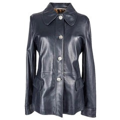 Dolce&Gabbana Leather Jacket Ink Blue Silver Monogram Buttons 46 fits 8 New/Tag