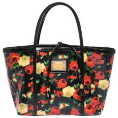 Dolce&Gabbana Multicolor Floral Print Vinyl and Patent Leather Miss Escape Tote
