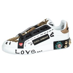 Dolce&Gabbana Multicolor Leather Portofino Embellished Low Top Sneaker Size 37.5
