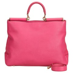 Dolce&Gabbana Pink Leather Miss Sicily Satchel