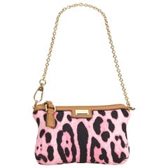 Dolce&Gabbana Pink Leopard Printed Canvas Baguette